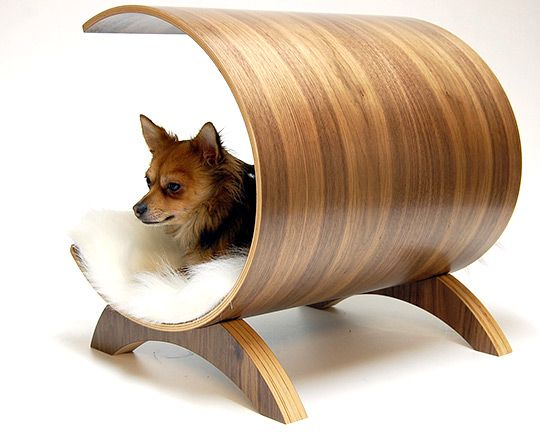 Vurv Design Walnut Bent Plywood Walnut Dog Lounge via selectism #Dog_Bed #Vurv_Design #selectism