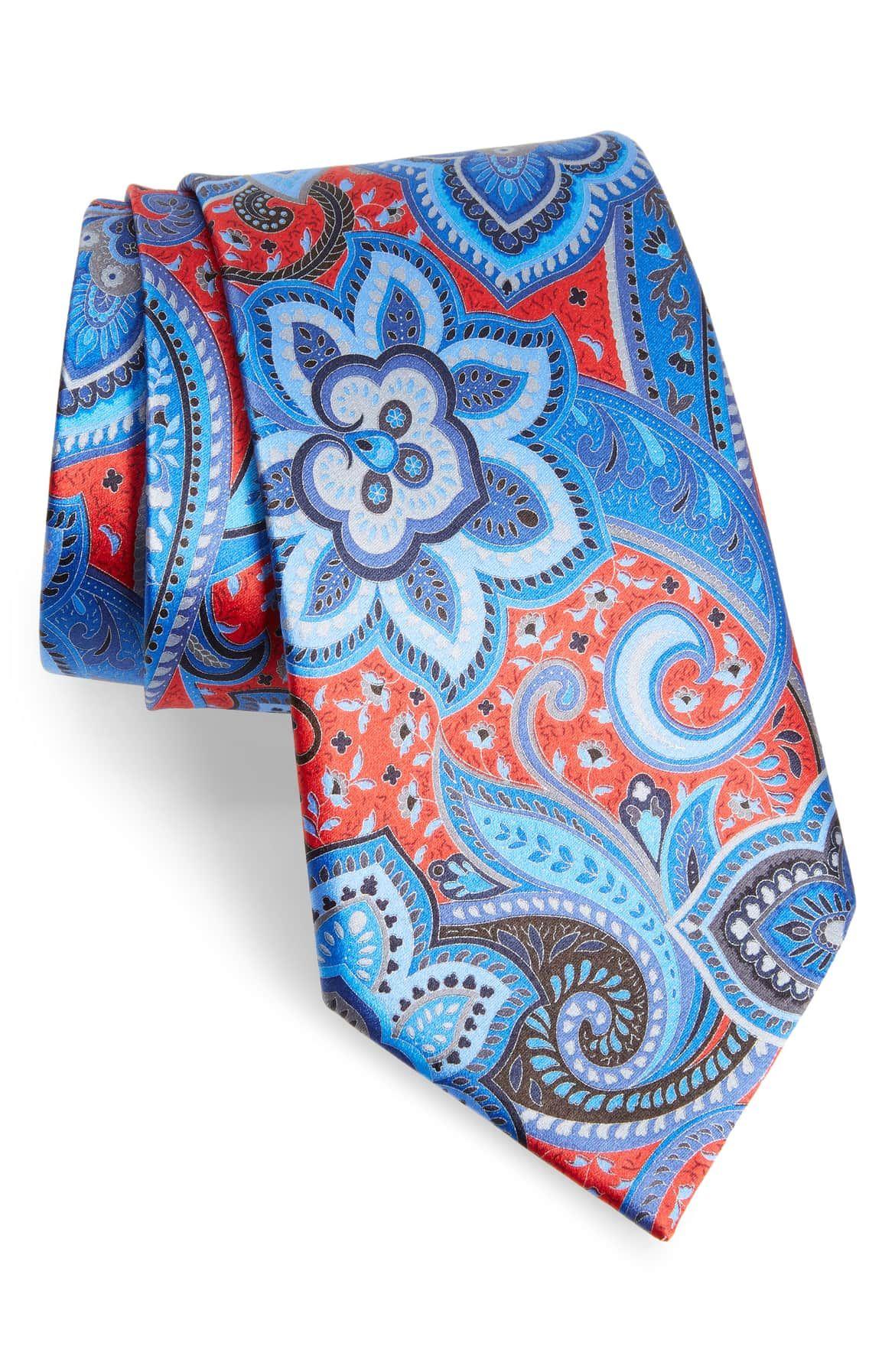 65414bcce43c Zegna Quindici Floral Paisley Silk Tie, orange with blue floral print tie