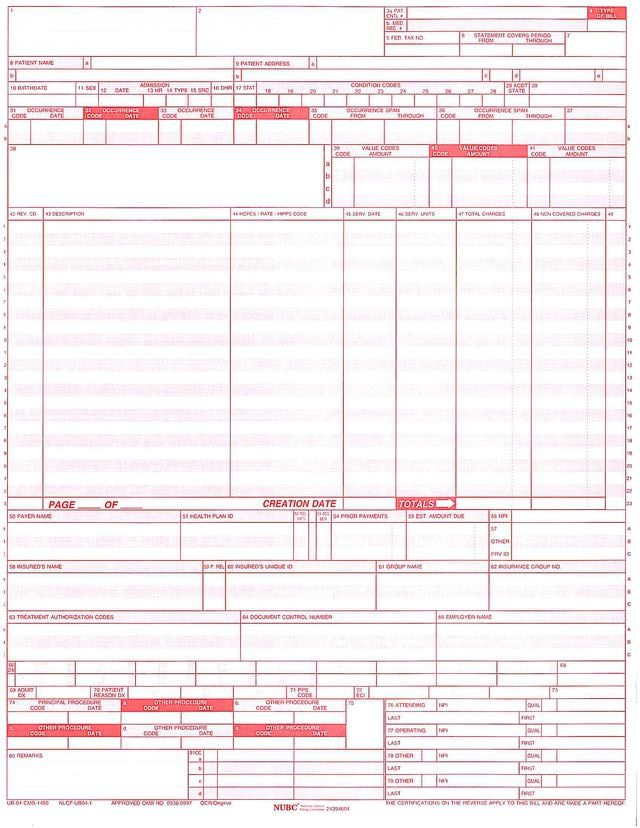 How The Ub 04 Form Is Used To Bill Insurance Companies Medical