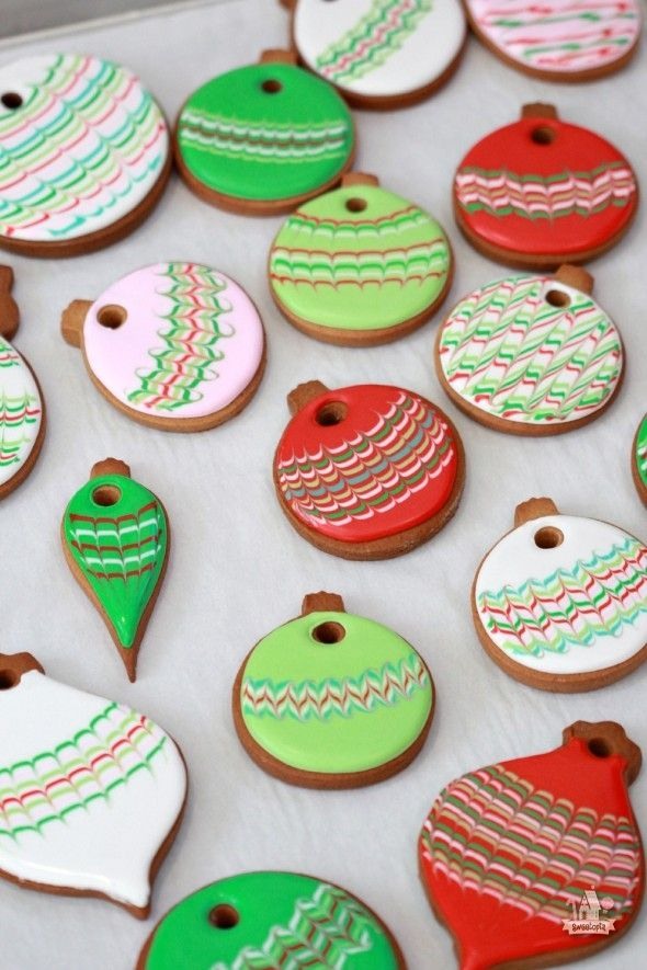 Marbled Christmas Ornament Decorated Sugar Cookies Sweetopia