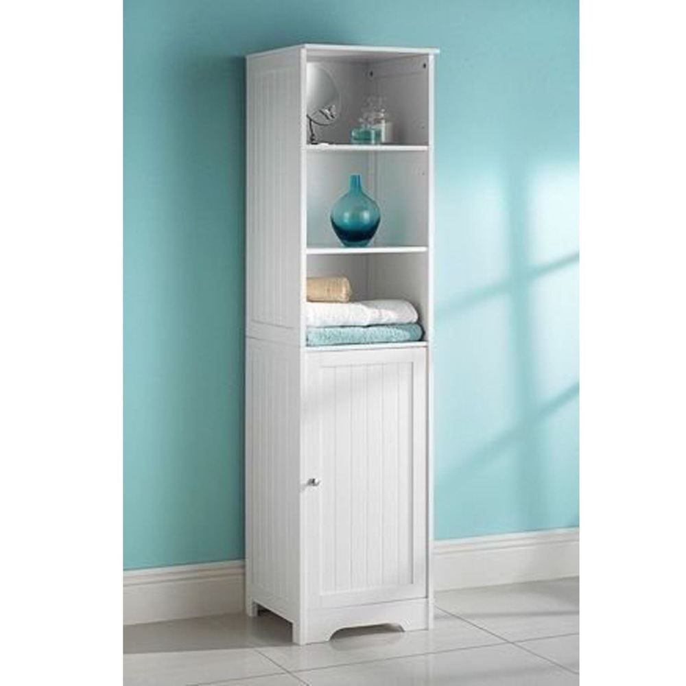 Tall Boy Storage Cabinet White Bathroom Cupboard Wooden Unit Door