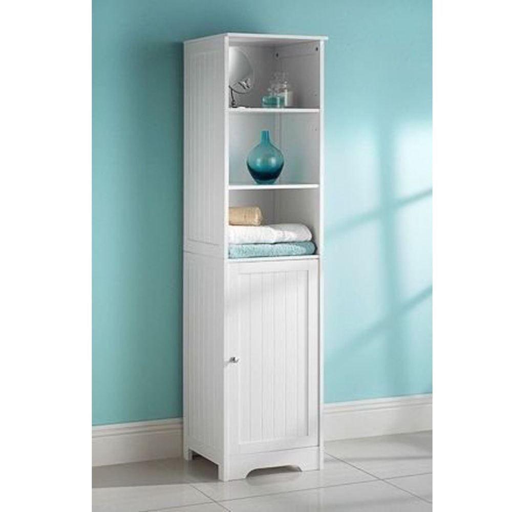 Tall Boy Storage Cabinet White Bathroom Cupboard Wooden Unit Door Shelves Ebay Wooden Bathroom Cabinets Bathroom Storage Units Bathroom Tall Cabinet