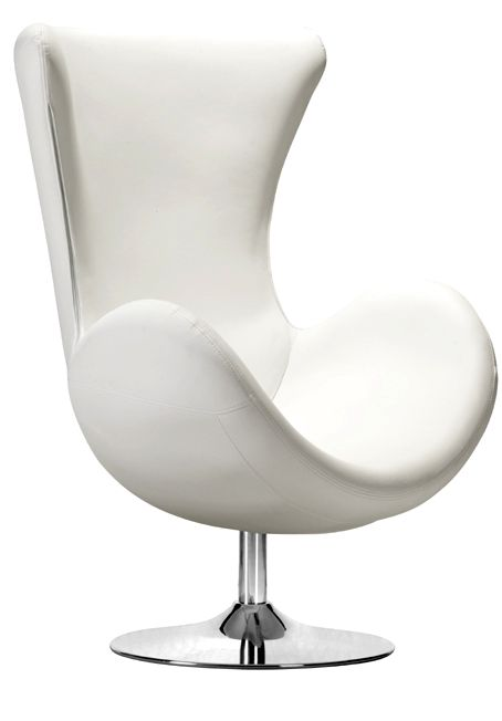 Swivel Wing Back Club Chair In White Things Leather