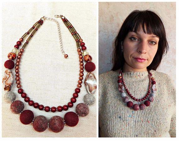 burgundy bead necklace crystal bead handmade felt gift glass