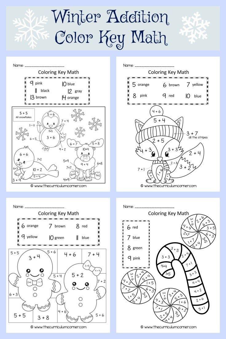 Winter Coloring Key Math | Kind