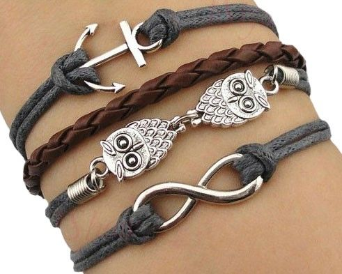 Cute retro owl 8 shape anchor pendant bracelet schmuck pinterest cute retro owl 8 shape anchor pendant bracelet aloadofball Images