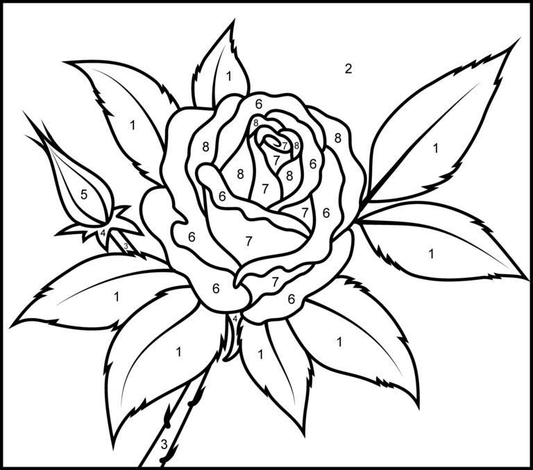 Rose Printable Color By Number Page With Images Rose