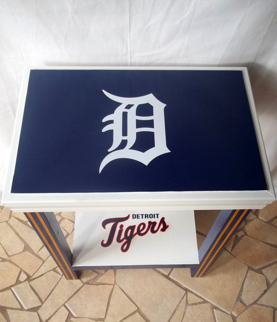 Detroit Tigers Inspired Sports Table Mlb Baseball Sports Decor Sports Furniture Side Table End Table White Sports Decorations Detroit Tigers Inspiration