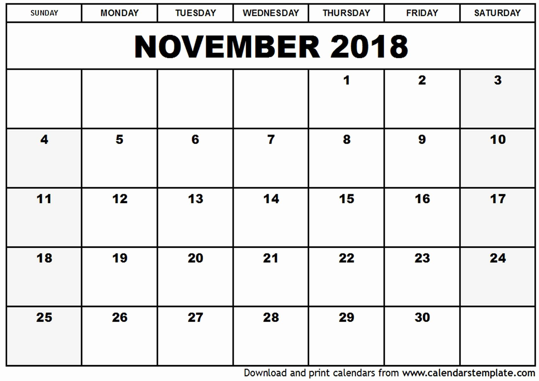 November 2018 Calendar Template Printable November Calendar 2018