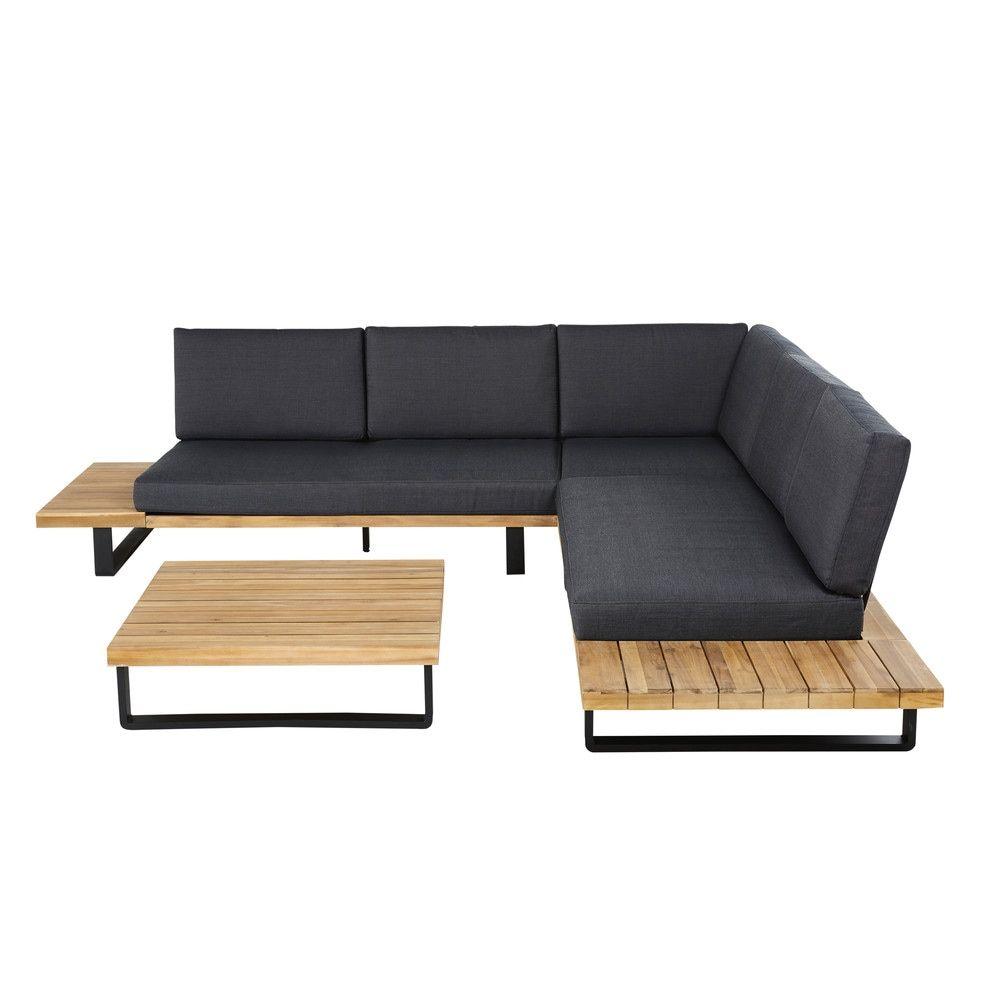 Salotto Da Giardino 4 5 Posti In Alluminio E Legno Massello Di Acacia Contemporary Outdoor Sofas Furniture Outdoor Furniture