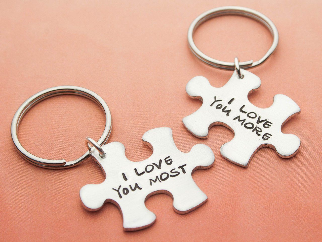 Description A cute set of keychains to share - one for each of you. Each keychain is hand stamped wi...