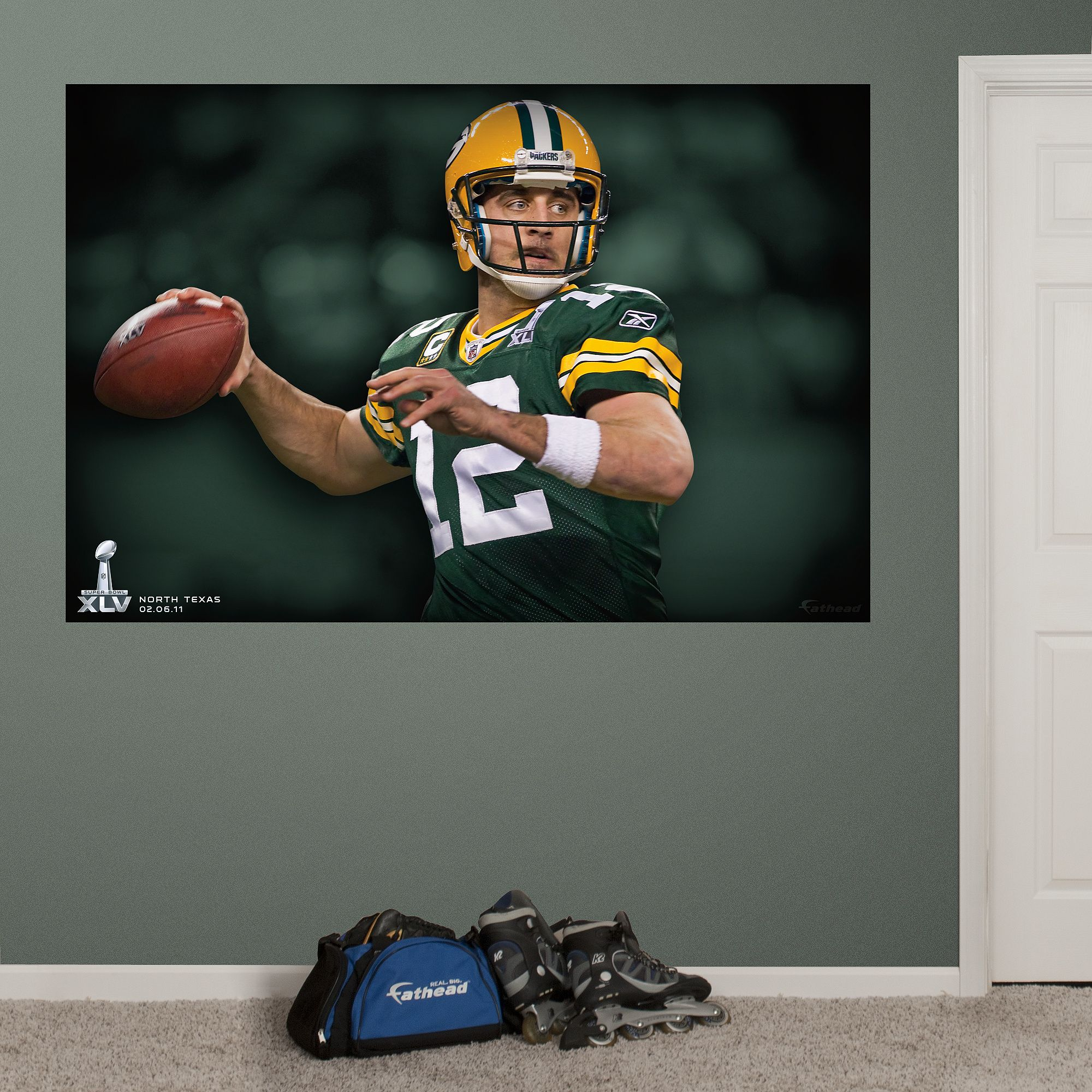 Aaron Rodgers Super Bowl XLV Mural | Green Bay Packers Wall Decal Part 47