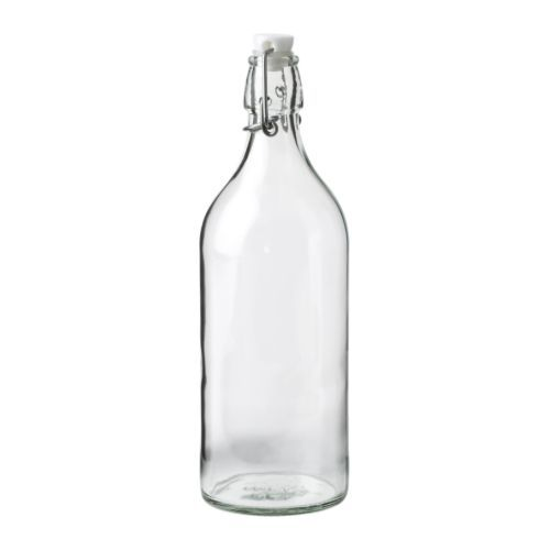 KORKEN Bottle with stopper, clear glass, Height: 11