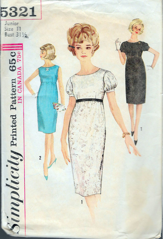 Vintage 1963 Simplicity 5321 Mod One-Piece Empire Waistline Dress ...