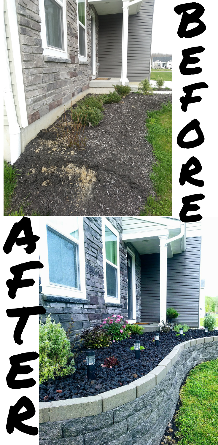 front yard flower bed project makeover to add curb appeal with lava rock and a stone block retaining wall. #flowerbed #landscaping #curbappeal  Flower bed makeover in full progress #raisedbed #infrontofhouse  #garden #diy #flowerbeds