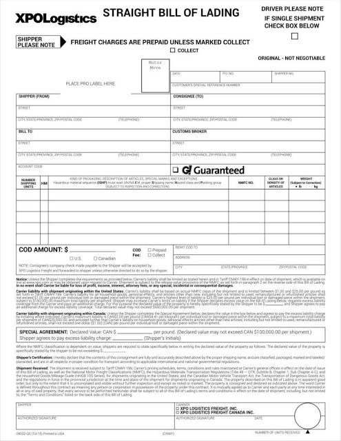 Free Bill Of Lading Form Printable  Bill Of Lading Forms