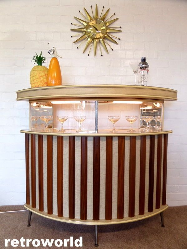 60s 70s Large Retro Vintage Cocktail Drinks Home Bar Sold By
