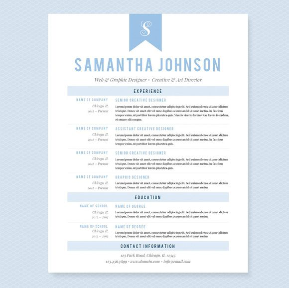 Light Blue Resume Template Package Pinterest Template, Resume