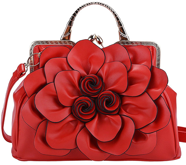 Coofit Stereo Rose Handbag Flower Leather Cute Purse Evening Bag ...