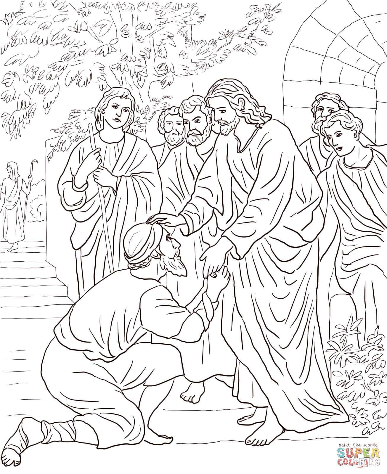 Jesus Heals Bartimaeus Christian Coloring Bible Coloring Pages