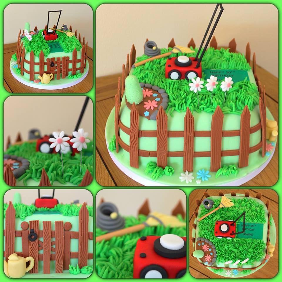 Gardening cake with lawnmower www.sweet-nothings.co.uk   Torta ...