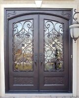 Front Entry Wrought Iron Double Pre-hung Door Operable Glass Panel 61 1/4 x 81 | eBay