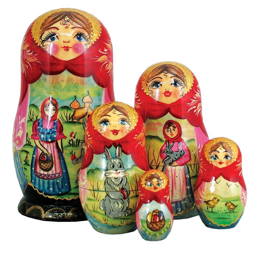 Russian hand painted art Easter 5piece Nested Doll