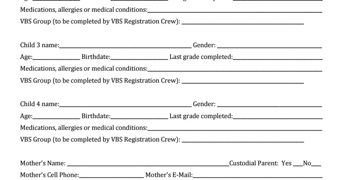 Vbs Registration Form Template Pdf Registration Form Vbs Bible Study For Kids