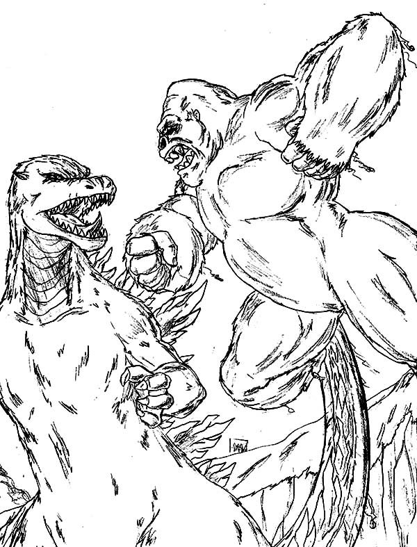 King-Kong-vs-Godzilla-Coloring-Pages.jpg (600×787) | LineArt ...