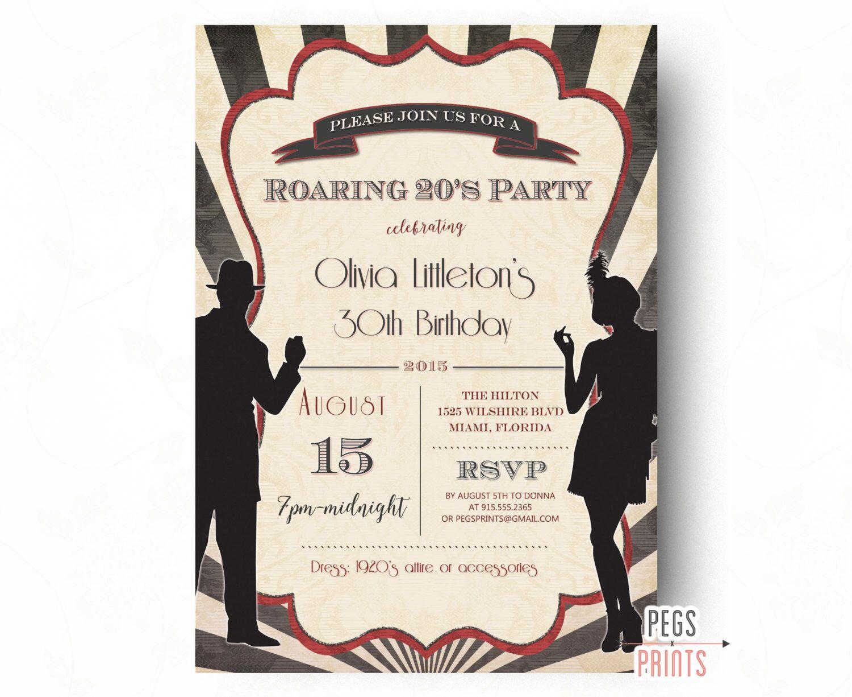 Printable Roaring 20s Invitation, Roaring 20s Birthday Invitation ...