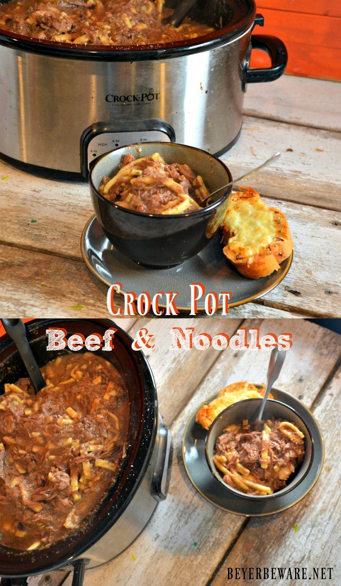 a creamy slow cooked crock pot beef and noodles recipe