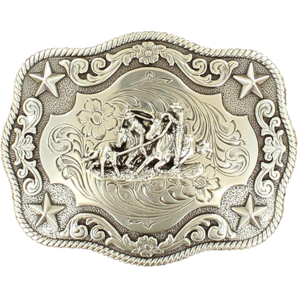 Nocona Western Mens Belt Buckle Bull Rider Rope Edge Rectangular Silver 3759002