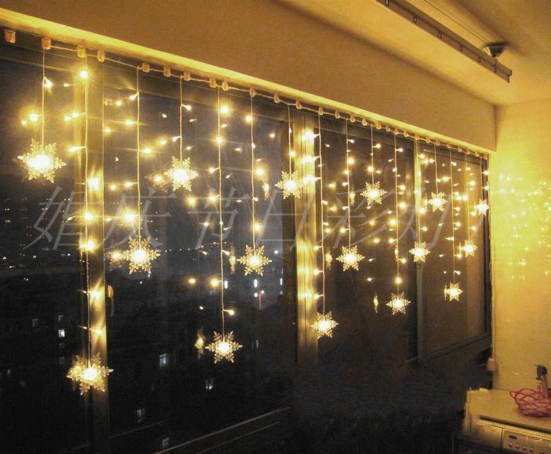 LED Schneeflocken Lichtervorhang Lichterkette Fenster Weihnachten Deko Vorhang