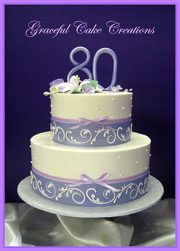 Elegant 80th Birthday Cake With Purple And Lavender