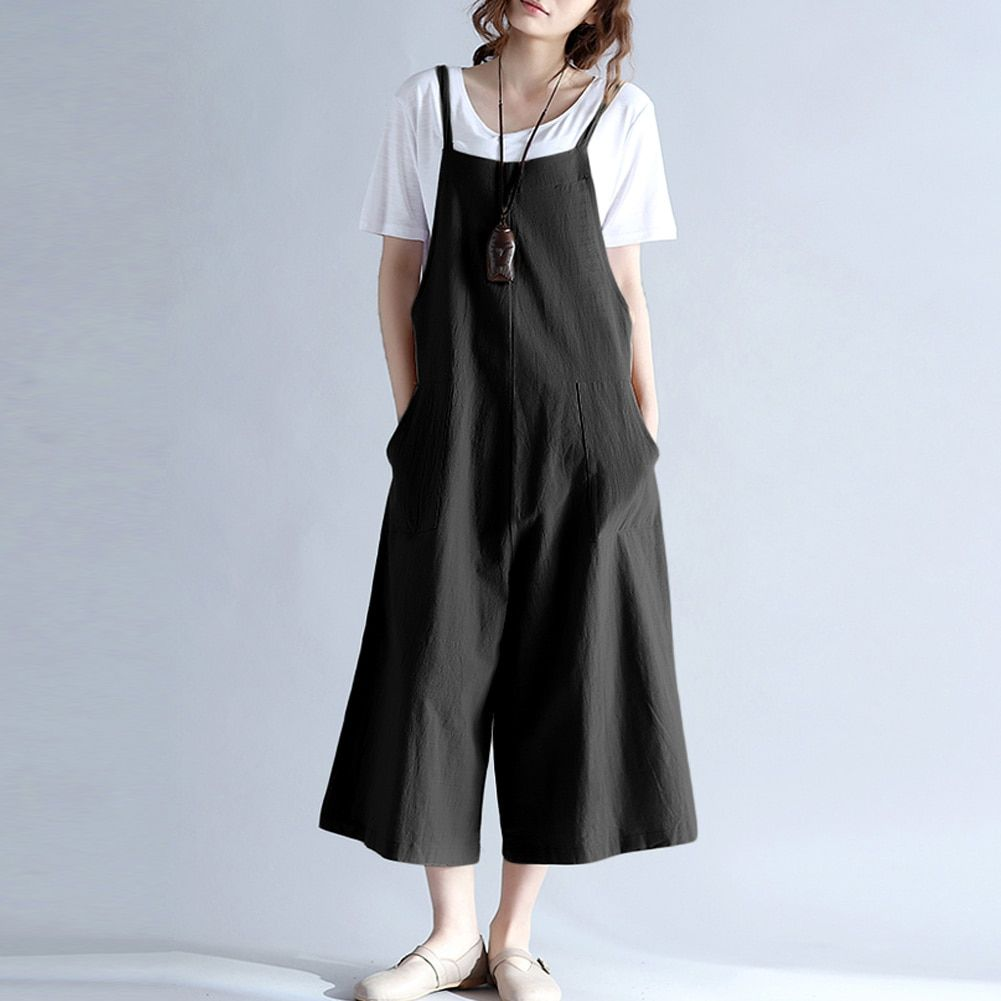 Dependable Women Summer Clothes Sleeveless Casual Loose Linen Pants Cotton Jumpsuit Strappy Harem Trousers Overalls Regular Size Solid Women's Clothing