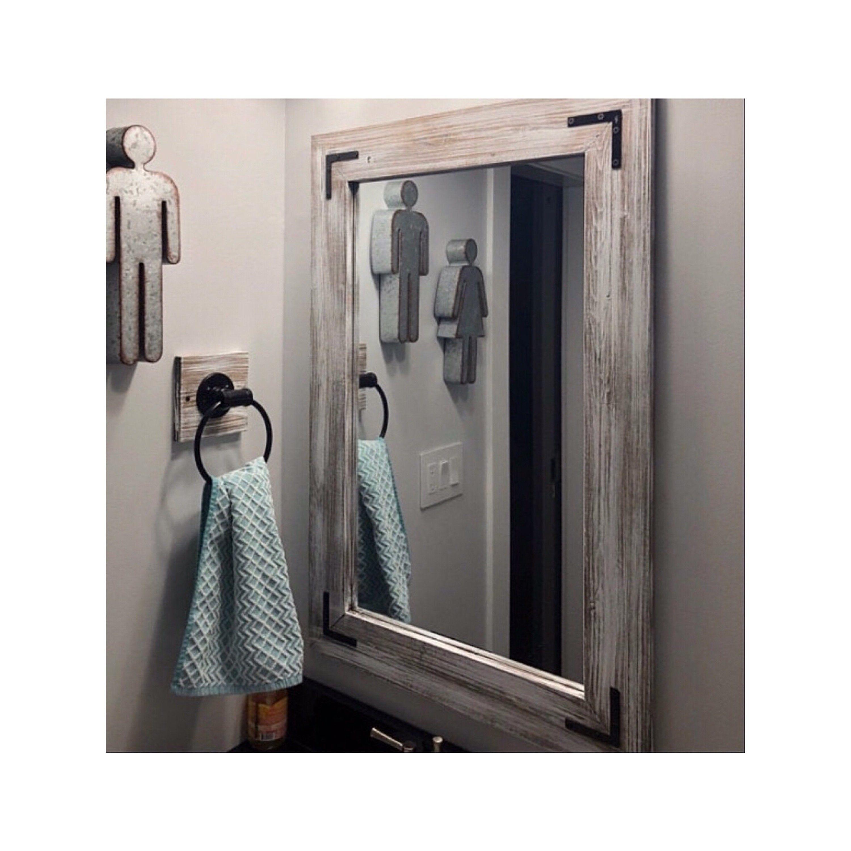 Whitewash Mirror Wood Framed Mirror Rustic Wood Mirror Bathroom