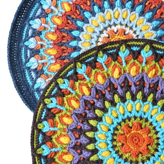 Spanish Mandala - overlay crochet PATTERN - round colorful cushion ...