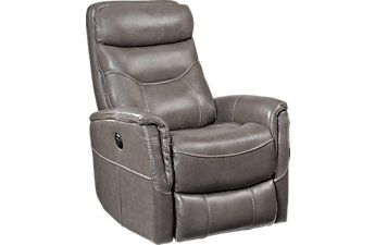 Cindy Crawford Home Bello Gray Leather Power Swivel Glider