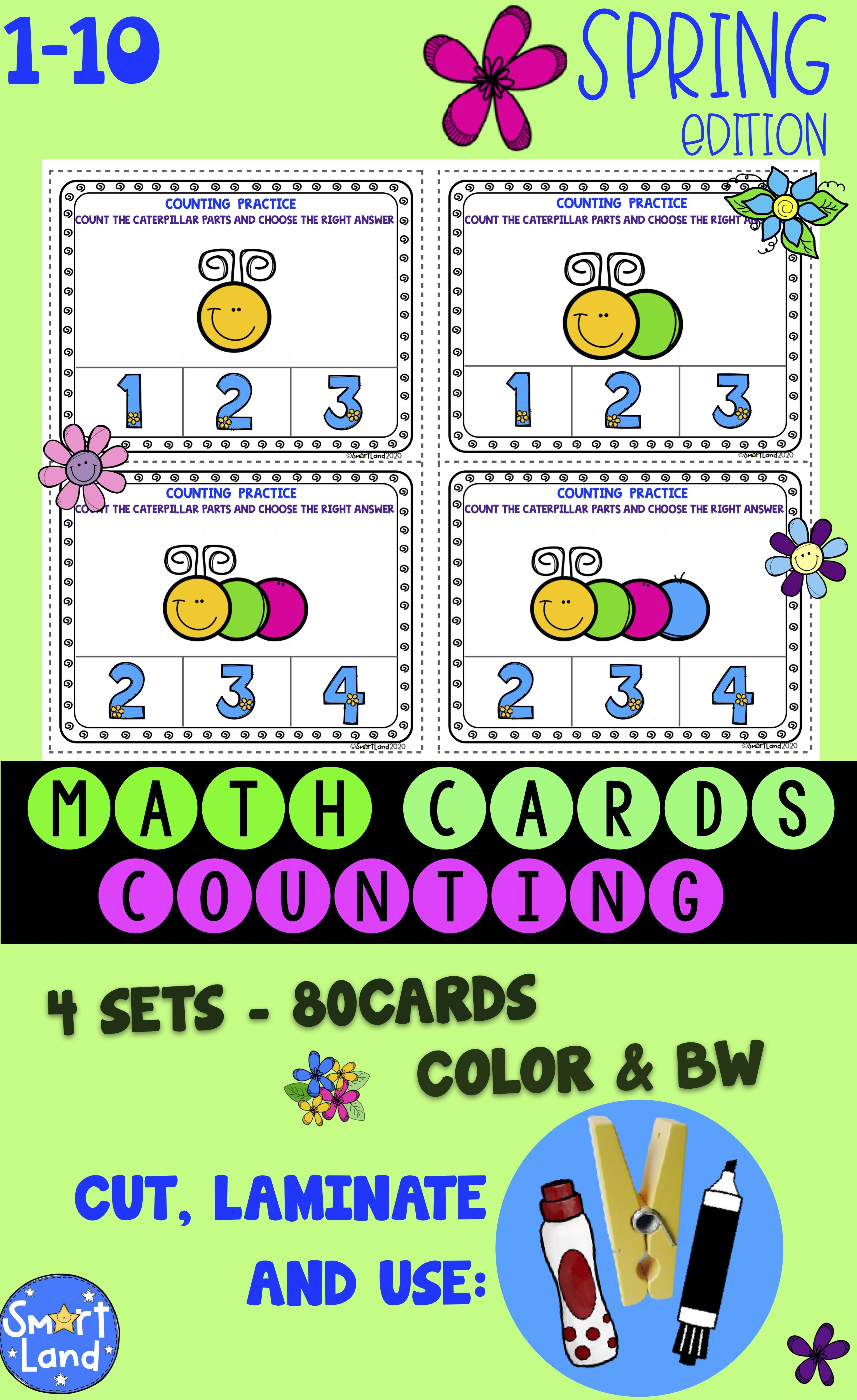 Math Cards Counting Spring In