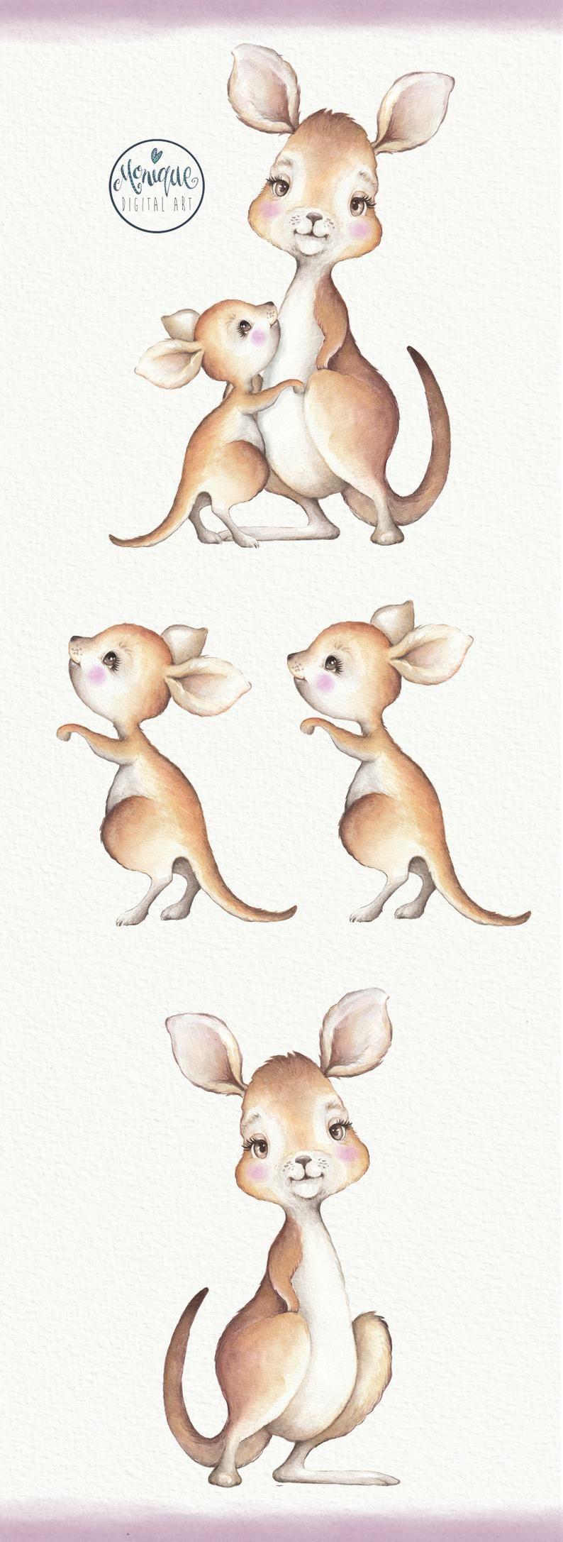 Kangaroo Clipart Watercolor Mum Baby Kangaroo Kangaroo Art Etsy Kangaroo Art Kangaroo Drawing Baby Animal Prints