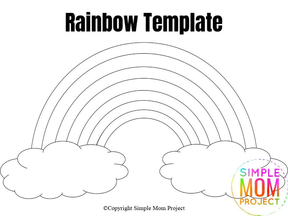 Free Printable Rainbow Templates In Large And Small Simple Mom Project In 2020 Rainbow Kids Rainbow Crafts Diy Crafts For Girls