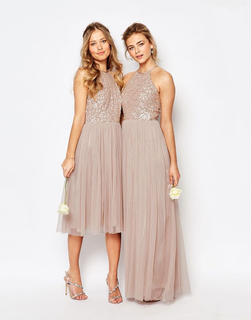 Image 3 of Maya High Neck Maxi Tulle Dress With Tonal Delicate ...