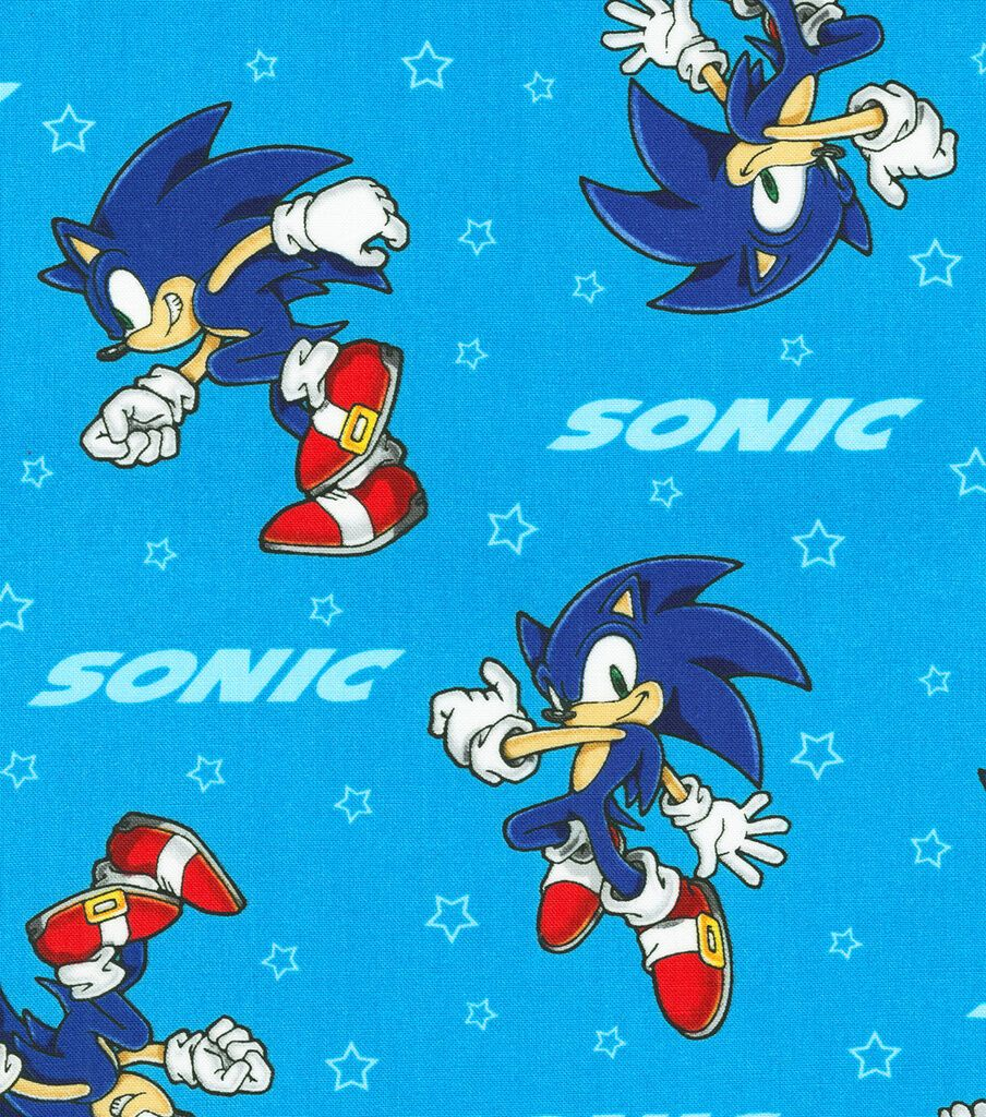 Sonic The Hedgehog Cotton Fabric Stars In 2020 Fabric Stars Hedgehog Sonic The Hedgehog