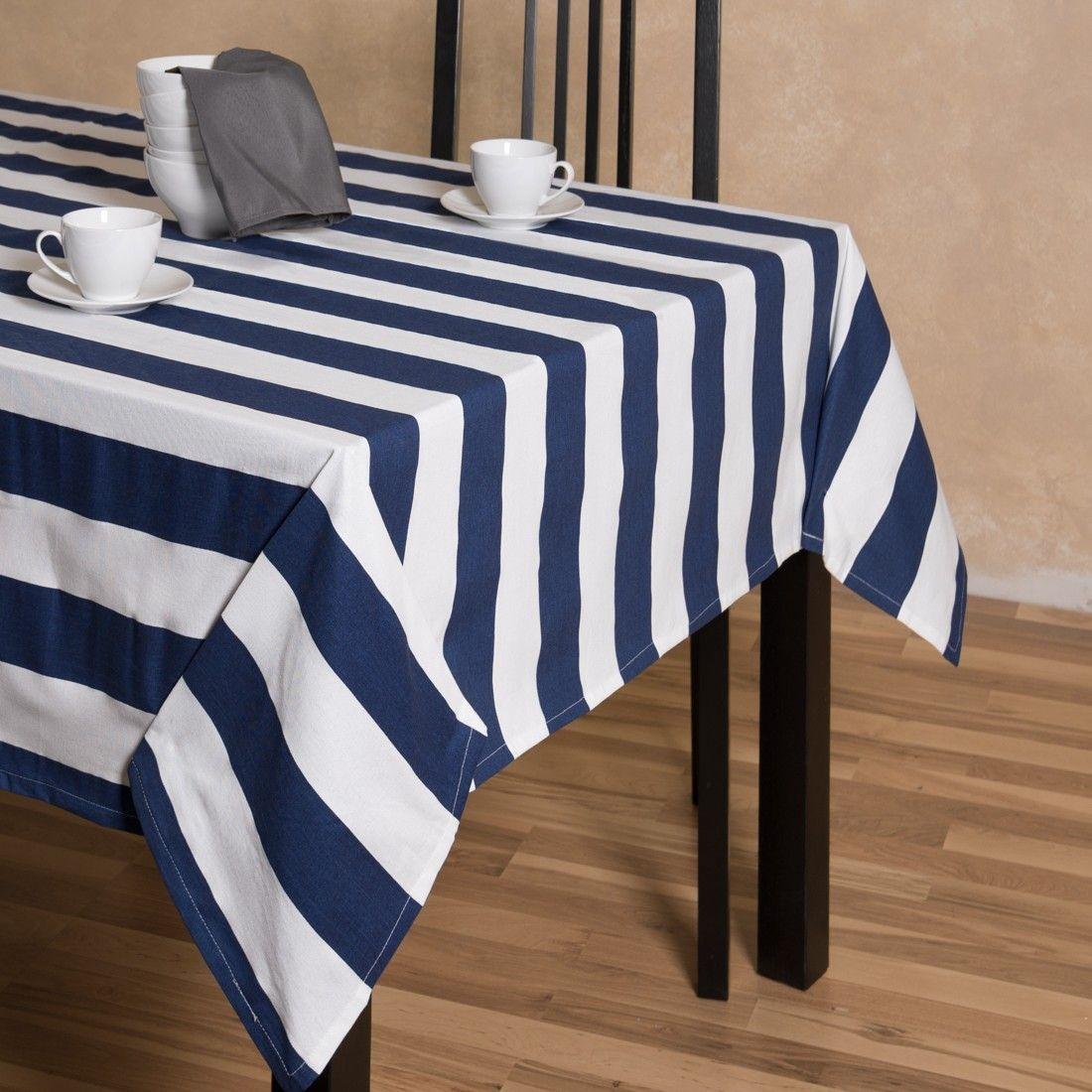Elegant Trellis Rectangular Cotton Tablecloth Black White. Blue Striped Tablecloth