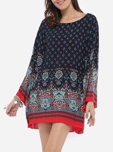 Buy V Neck Dacron Paisley Tribal Shift Dress online with cheap prices and discover fashion Shift Dresses at Fashionmia.com.