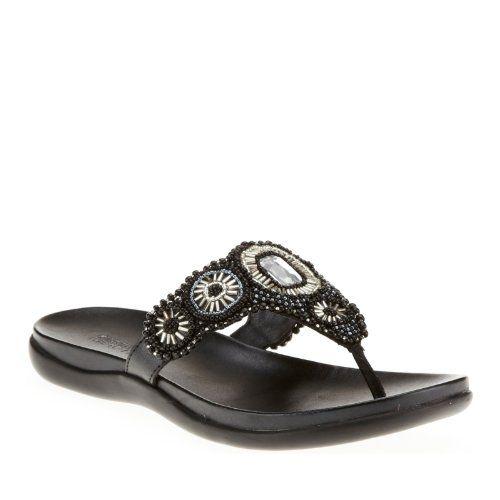 #saucy Kenneth Cole REACTION Women's Glam Stud MT Thong Sandal,Black,5 M US