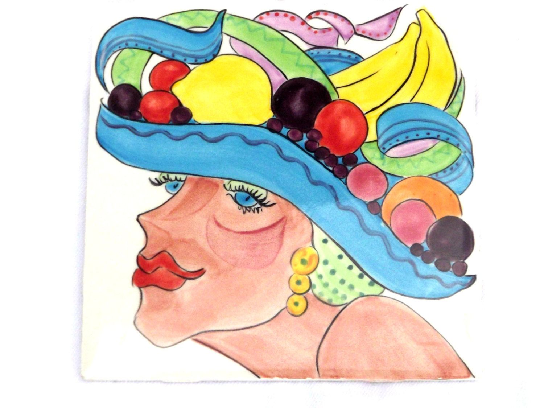 Retro Tiletrivet Hand Painted Tile Carmen Miranda Mardi Gras