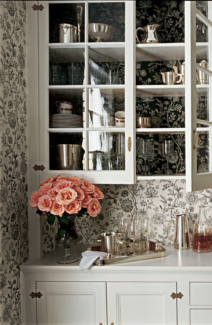 Charming China Pantry Backed With Ralph Lauren Home Black White