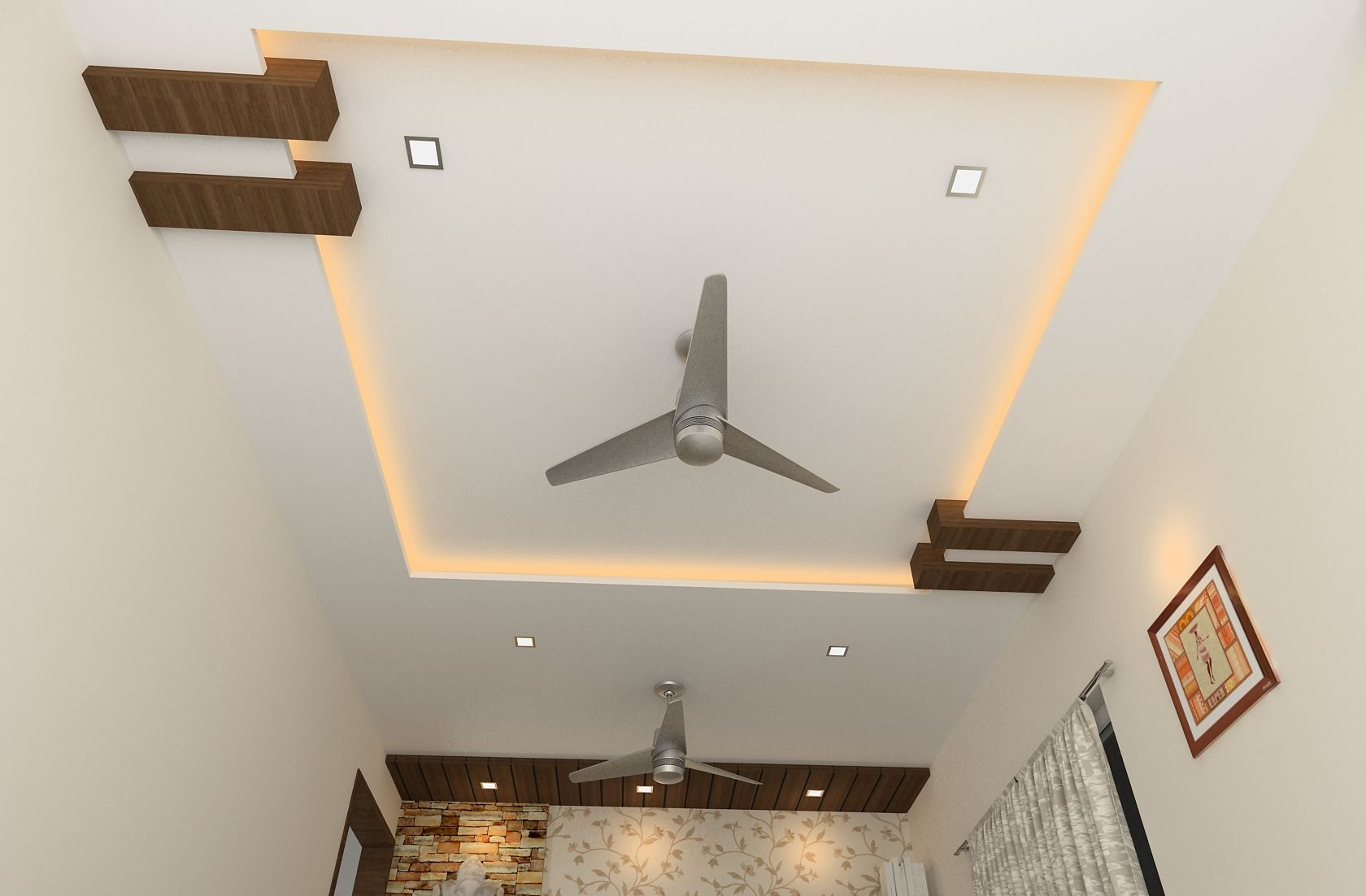 Simple Square Ceiling With Wooden Beams False Ceiling In Lobby Ceiling Design Bedroom Simple Ceiling Design Ceiling Design Living Room