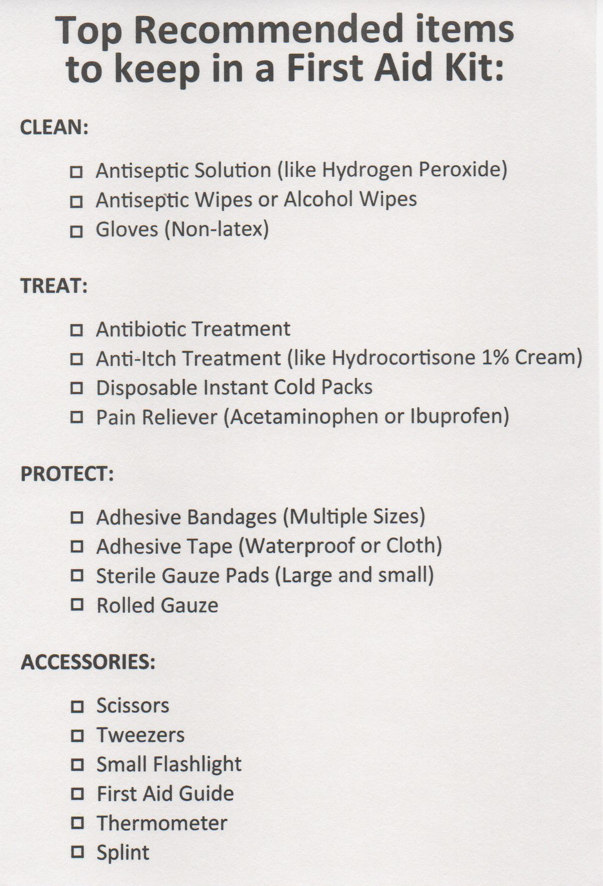 Worksheets First Aid Worksheets a printable checklist for the top recommended items to keep in first aid kit